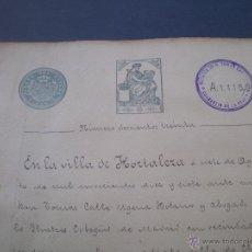 Documentos antiguos: DOCUMENTO NOTARIAL, LLEVA SELLO TIMBRE O FISCAL, HOTALEZA, MADRID, 1917. Lote 53024521