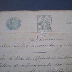 Documentos antiguos: ESCRITURA O DOCUMENTO NOTARIAL, LLEVA SELLO TIMBRE O FISCAL, MADRID 1912. Lote 53024797