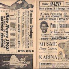 Documentos antiguos: PROGRAMA DE TEATRO. BALLET Y MÚSICA. TEATRO MARTI. CUBA. AÑOS 50. 22,5 X 30,3 CM. Lote 283496968
