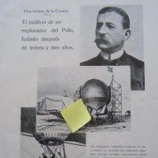 Documentos antigos: EXPLORADOR POLO NORTE EXPEDICION CIENTIFICA NORUEGA SPITABERGEN SALOMON ANDREE GLOBO AEROSTATICO. Lote 53096103