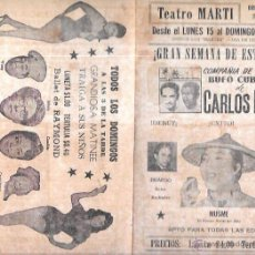 Documentos antiguos: PROGRAMA DE TEATRO. BALLET Y MÚSICA. NOCHE. TEATRO MARTI. CUBA. AÑOS 50. 22,5 X 30,3 CM. Lote 283497013