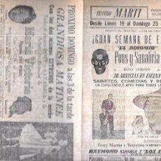 Documentos antiguos: PROGRAMA DE TEATRO. BALLET Y MÚSICA. NOCHE. TEATRO MARTI. CUBA. AÑOS 50. 22,5 X 30,3 CM. Lote 283497048
