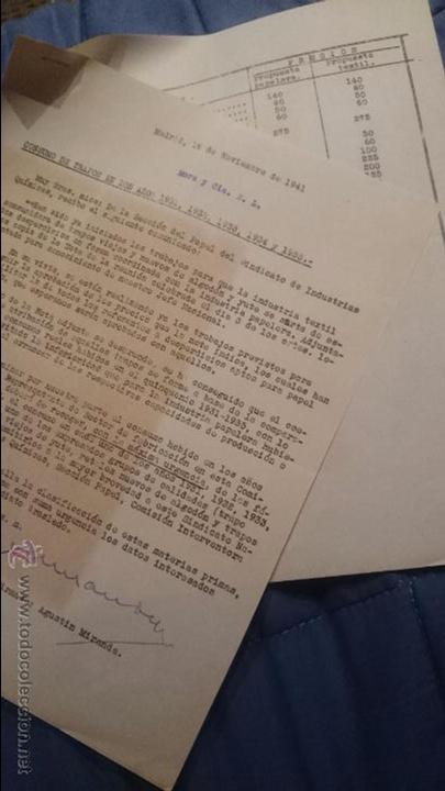 INDUSTRIA PAPELERA Y TEXTIL, CONSUMO AÑOS 1931 AL 1935, PROPUESTA 1941. TABLA DETALLADA, DIFCIL!! (Coleccionismo - Documentos - Otros documentos)