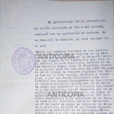 Documentos antiguos: COMUNICACION DEL ALCALDE DE SAN SEBASTIAN DANDO A UNA CALLE EL NOMBRE DE VALENTIN OLANO 1920. Lote 53181432
