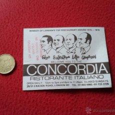 Documentos antiguos: TARJETA CARD DE VISITA PUBLICIDAD PUBLICITARIA O SIMILAR CONCORDIA NOTTE RISTORANTE ITALIANO LONDON . Lote 53201780