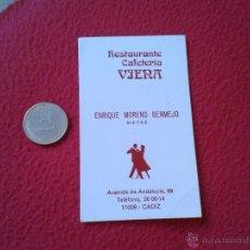 Documentos antiguos: ANTIGUA TARJETA DE VISITA CARD PUBLICIDAD PUBLICITARIA O SIMILAR RESTAURANTE CAFETERIA VIENA CADIZ I. Lote 53255064