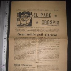 Documentos antiguos: VILANOVA I GELTRU - 1906 - EL PARE CROSPIS - NUM 5 - PERIODICH - VER FOTOS - (V-3771). Lote 53255761