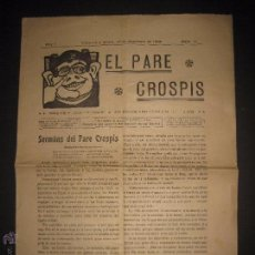 Documentos antiguos: VILANOVA I GELTRU - 1906 - EL PARE CROSPIS - NUM 11 - PERIODICH - VER FOTOS - (V-3772). Lote 53255779