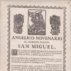 Documentos antiguos: ANGELICO NOVENARIO AL GLORIOSO SAN MIGUEL ++ S. XIX. Lote 53287065