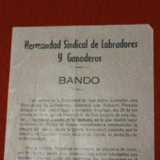 Documentos antiguos: HERMANDAD SINDICAL DE LABRADORES Y GANADEROS, BANDO 1962, CIEZA. Lote 53289887