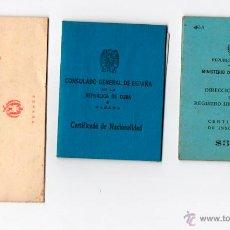 Documentos antiguos: LOTE DE DOCUMENTOS DE UNA EMIGRANTE DE ASTURIAS PARA CUBA. LA HABANA. 1953. CERTIFICADO NACIONALIDA. Lote 53346847