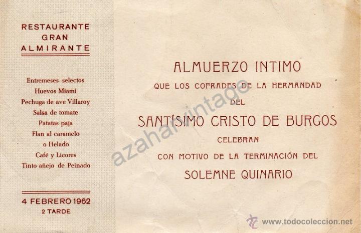 Semana Santa De Sevilla 1962 Invitacion Almuer Comprar En
