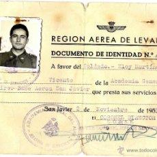 Documentos antiguos: MURCIA EJERCITO AIRE SAN JAVIER DOCUMENTO DE IDENTIDAD AÑO 1959. Lote 53368920