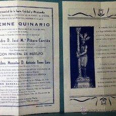 Documentos antiguos: ARAHAL. REAL HERMANDAD DE LA SANTA CARIDAD Y MISERICORDIA. SOLEMNE QUINARIO. 1962. SEVILLA. Lote 53396559