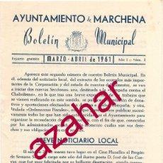Documentos antiguos: MARCHENA, SEVILLA,1961, BOLETIN MUNICIPAL, 16 PAGINAS, MAGNIFICO DOCUMENTO. Lote 53409027
