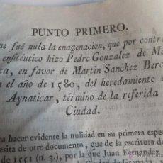 Documentos antiguos: PROVIDENCIA NULIDAD CORTIJO AYANTICAR EN GRANADA P GONZALEZ MENDOZA M S BERCIAL 1787 ( 1514 ). Lote 53425165