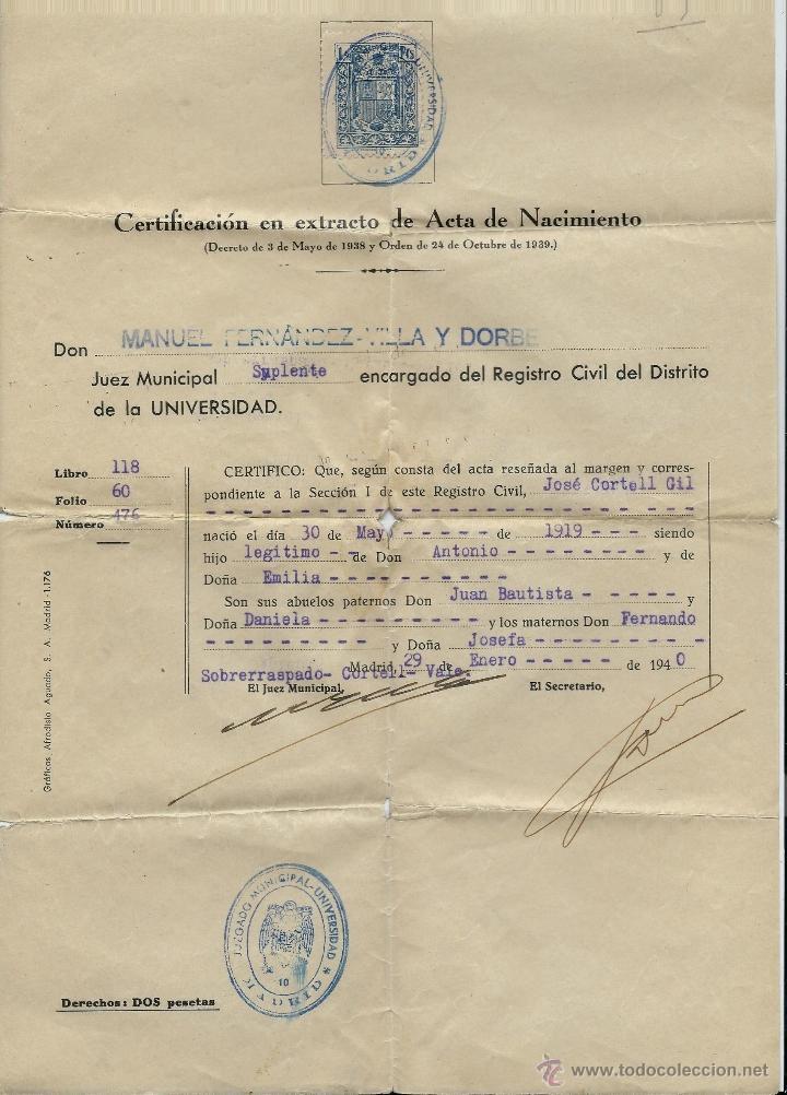 extraordinario certificado de nacimiento del ju - Comprar en ...