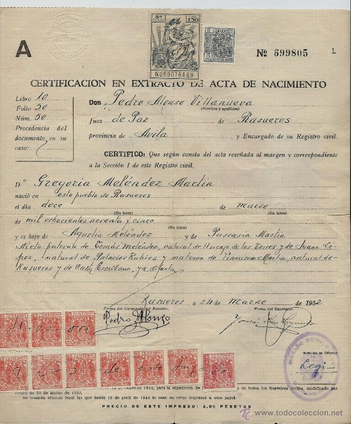 extraordinario certificado de nacimiento de - r - Comprar en ...