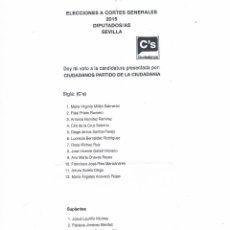 Documentos antiguos: PAPELETA CANDIDATURA AL CONGRESO CIUDADANOS VOTACIÓN ELECCIONES GENERALES 2015 PROPAGANDA ELECTORAL. Lote 53619159