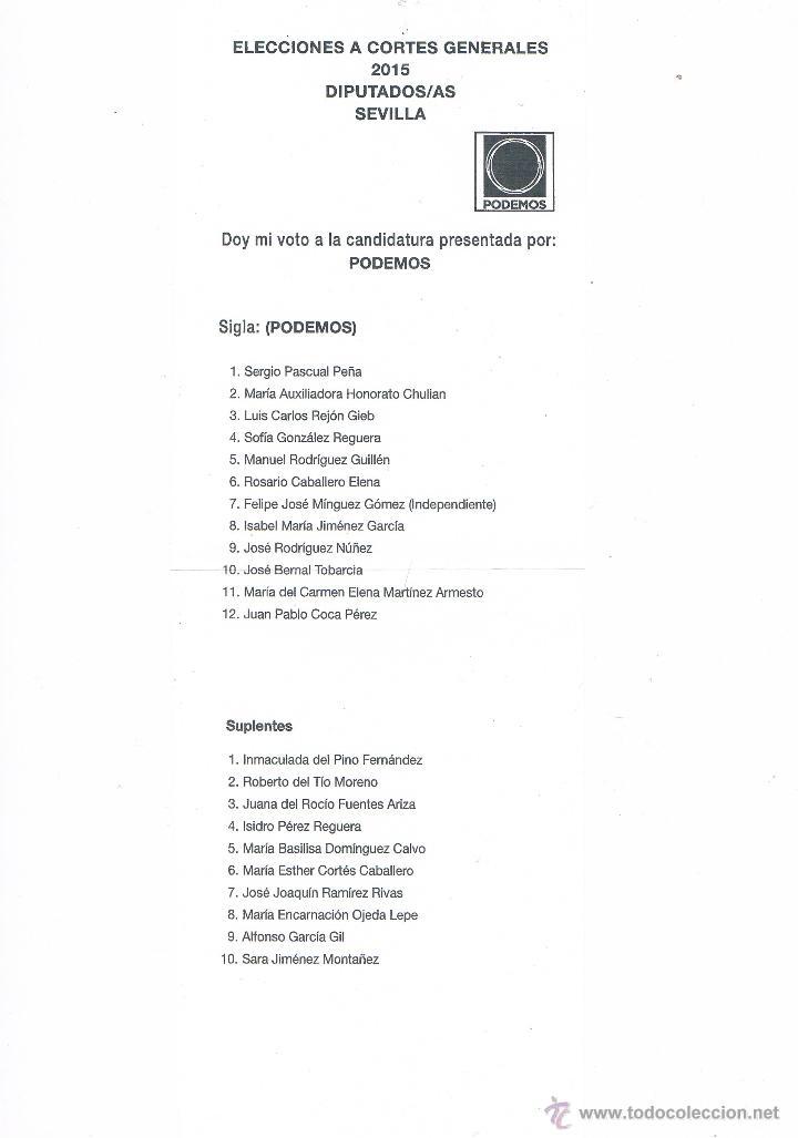 PAPELETA CANDIDATURA AL CONGRESO PODEMOS VOTACIÓN ELECCIONES GENERALES 2015 PROPAGANDA ELECTORAL (Coleccionismo - Documentos - Otros documentos)