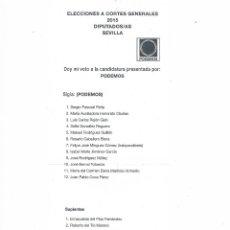 Documentos antiguos: PAPELETA CANDIDATURA AL CONGRESO PODEMOS VOTACIÓN ELECCIONES GENERALES 2015 PROPAGANDA ELECTORAL. Lote 53619178