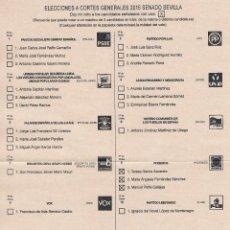 Documentos antiguos: PAPELETA CANDIDATURA AL SENADO PODEMOS VOTACIÓN ELECCIONES GENERALES 2015 PROPAGANDA ELECTORAL. Lote 53619198