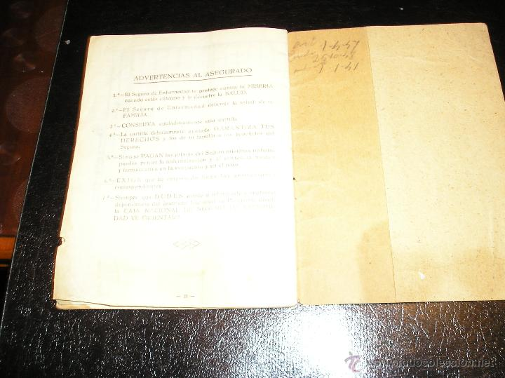 Documentos antiguos: CARTILLA DE IDENTIDAD DEL INSTITUTO NACIONAL DE PREVISION CAJA NACIONAL DEL SEGURO DE ENFERMEDAD - Foto 9 - 53624339