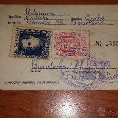 Documentos antiguos: DIRECCION GRAL. DE SEGURIDAD SELLO J.ANTONIO 1960. Lote 53625568