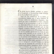 Documentos antiguos: REAL ORDEN DEL PRINCIPE DE LA PAZ, SOBRE ACOGIMIENTO DE EX-JESUÍTAS ESPAÑOLES DE ITALIA. AÑO 1797. Lote 53629107