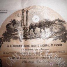 Documentos antiguos: MASONERIA-LOGIA DIPLOMA ORIGINAL MAESTRO MASON,SIGLO XIX,GRANDE ORIENTE DE ESPAÑA,BILBAO-PAIS VASCO. Lote 53674432