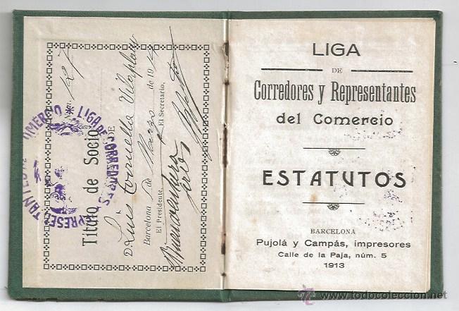 Documentos antiguos: BARCELONA CARNET Y ESTATUTOS 1914 LIGA CORREDORES REPRESENTANTES COMERCIO TITULO DE SOCIO CATALUNYA - Foto 2 - 53705349