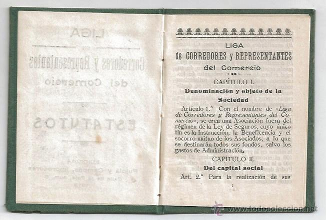 Documentos antiguos: BARCELONA CARNET Y ESTATUTOS 1914 LIGA CORREDORES REPRESENTANTES COMERCIO TITULO DE SOCIO CATALUNYA - Foto 3 - 53705349
