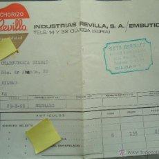 Documentos antiguos: FACTURA EMBUTIDOS CHORIZO REVILLA OLVEGA SORIA CONSERVAS MATADERO CARNE CHARCUTERIA CARNICERIA. Lote 53722403