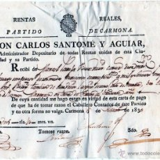 Documentos antiguos: RENTAS REALES 1830. Lote 53732224