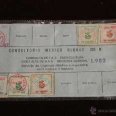 Documentos antiguos: CARNET CONSULTORIO MEDICO 320 B, SAN CRISTOBAL 1982 FISCALES RAROS. Lote 53762961