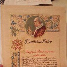 Documentos antiguos: BENDICIÓN APOSTÓLICA E INDULGENCIA PLENARIA.BEATISIMO PADRE.AÑOS 50. Lote 53795462