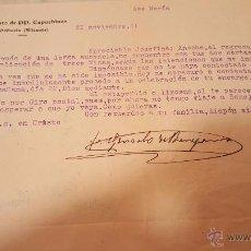 Documentos antiguos: CONVENTO CAPUCHINOS DE ORIHUELA, ALICANTE, CARTA A BENEJAMA, 1941. Lote 53795478