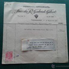 Documentos antiguos: TARRAGONA - 1956 - FACTURA SUC. R. GABRIEL GIBERT - MAYOR, 17 - REINTEGRO FECHA. Lote 53809276