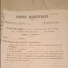 Documentos antiguos: AYUNTAMIENTO DE AGOST, ALICANTE, CARTA DE PAGO, 1931, FONDOS MUNICIPALES. Lote 53858466