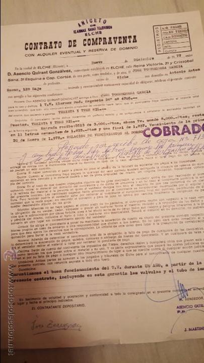 ELCHE, 1977, CONTRATO DE COMPRA-VENTA , AVALANDO TELEVISOR (Coleccionismo - Documentos - Otros documentos)