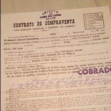 Documentos antiguos: ELCHE, 1977, CONTRATO DE COMPRA-VENTA , AVALANDO TELEVISOR. Lote 53865156