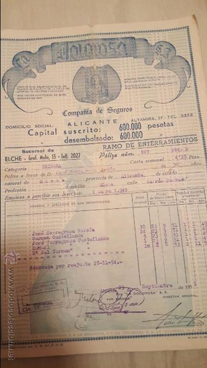 DOLOROSA, COMPAÑIA DE SEGUROS, 1949, ELCHE, ALICANTE. POLIZA DE SEGURO (Coleccionismo - Documentos - Otros documentos)