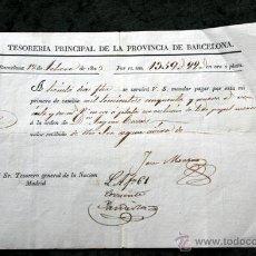 Documenti antichi: 1823 - TESORERIA PROVINCIA BARCELONA - MANDAR PAGAR EN ORO O PLATA - VARIAS FIRMAS - TESORERO NACION. Lote 54010790