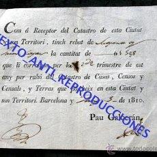 Documentos antiguos: RECIBO CATASTRO BARCELONA - 1810 - 2 FIRMAS - MARCA DE AGUA. Lote 54010968