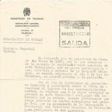 Documentos antiguos: ** PA379- DOCUMENTO DEL MINISTERIO DE TRABAJO - MUTUALIDAD LABORAL SIDEROMETALURGICA - VALENCIA 1967. Lote 54020009