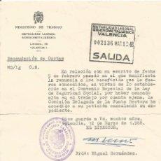 Documentos antiguos: ** PA380- DOCUMENTO DEL MINISTERIO DE TRABAJO - MUTUALIDAD LABORAL SIDEROMETALURGICA - VALENCIA 1968. Lote 54020029