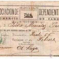 Documentos antiguos: MEXICO. RECIBO. ASOCIACION DE DEPENDIENTES. CARDENAS. MEJICO. 1894. Lote 54034469