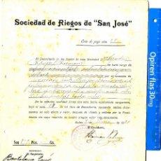 Documentos antiguos: CASTELLON NULES AGUAS CARTA DE PAGO SOCIEDAD RIEGOS SAN JOSE NULES 1921 . Lote 54090751