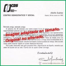 Documentos antiguos: CARTA DE PROPAGANDA FIRMADA POR ADOLFO SUÁREZ, CANDIDATO DEL CDS EN LAS ELECCIONES DE 1982. Lote 54105037
