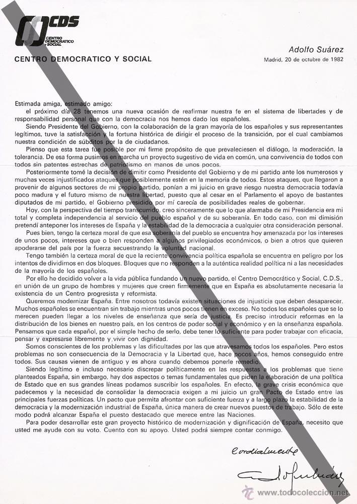 Documentos antiguos: Carta de propaganda firmada por Adolfo Suárez, candidato del CDS en las elecciones de 1982 - Foto 2 - 54105037